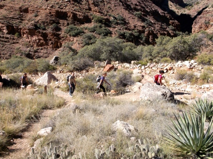 All afternoon, individuals and groups of hikers and runners passed by the Cottonwood site. This set of folks is heading up the North Kaibab.