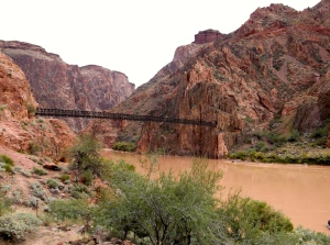 Black Bridge - cables on both sides (550 feet long, 8-inch diameter) were carried down by Havasupai Indian laborers. Bridge constructed in 1928.