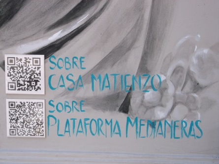 QR codes on ceramic tiles, installed by artist.