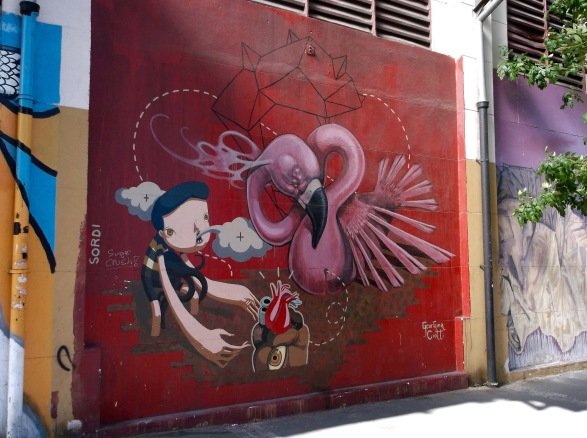 One of several female street artists