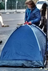 Street people - with tents!