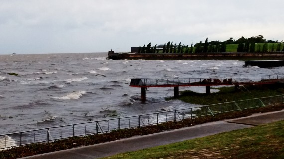 The sea is angry.